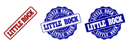 LITTLE ROCK grunge stamp seals in red and blue colors. Vector LITTLE ROCK marks with grunge style. Graphic elements are rounded rectangles, rosettes, circles and text labels.