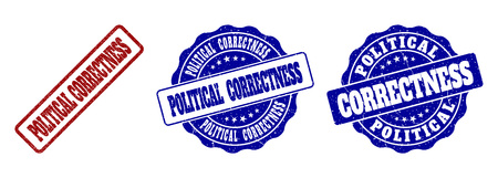 POLITICAL CORRECTNESS grunge stamp seals in red and blue colors. Vector POLITICAL CORRECTNESS marks with grunge effect. Graphic elements are rounded rectangles, rosettes, circles and text captions. Ilustrace
