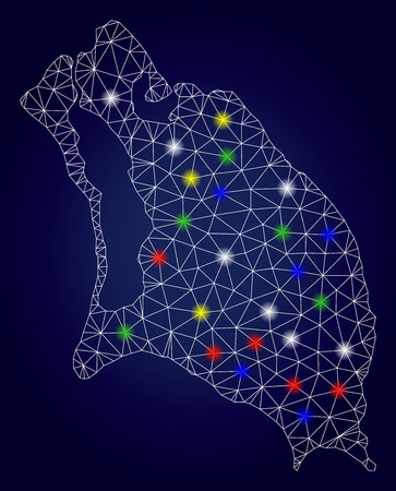 Glamour mesh vector Barbuda Island map with glowing light spots. Mesh model for patriotic posters. Abstract lines, dots, light spots are organized into Barbuda Island map. Ilustração