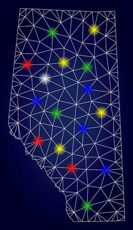 Glossy polygonal vector Alberta Province map with glare light spots. Mesh model for political posters. Abstract lines, dots, light spots are organized into Alberta Province map.