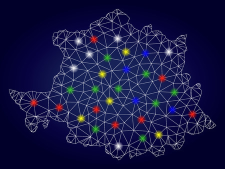 Bright mesh vector Caceres Province map with glare light spots. Mesh model for patriotic templates. Abstract lines, dots, light spots are organized into Caceres Province map.