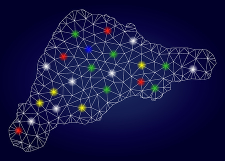 Glossy mesh vector Easter Island map with glowing light spots. Mesh model for political illustrations. Abstract lines, dots, flash spots are organized into Easter Island map. Foto de archivo - 121416635
