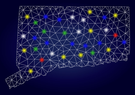 Glossy mesh vector Connecticut State map with glow light spots. Lowpoly model for patriotic illustrations. Abstract lines, dots, glare spots are organized into Connecticut State map. Illustration