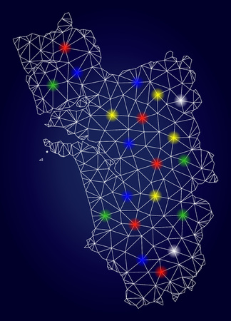 Bright polygonal vector Goa State map with glowing light spots. Lowpoly model for patriotic posters. Abstract lines, dots, light spots are organized into Goa State map. Illustration