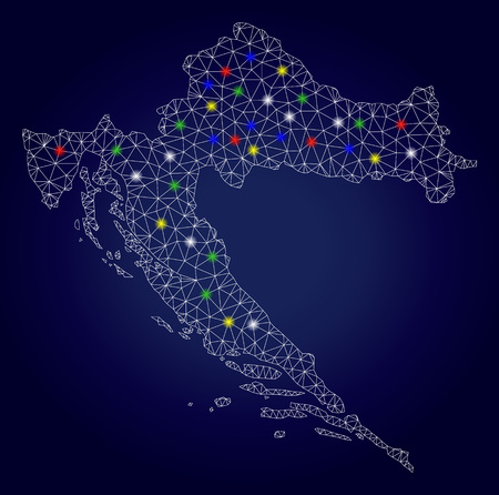 Glamour mesh vector Croatia map with glow light spots. Carcass model for patriotic templates. Abstract lines, dots, glare spots are organized into Croatia map. Dark blue gradiented background. Imagens - 121416942