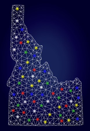 Glossy mesh vector Idaho State map with glowing light spots. Mesh model for political illustrations. Abstract lines, dots, light spots are organized into Idaho State map.