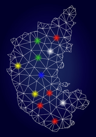 Bright mesh vector Karnataka State map with glare light spots. Lowpoly model for political purposes. Abstract lines, dots, light spots are organized into Karnataka State map.