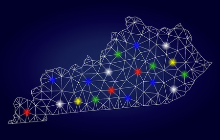 Glamour mesh vector Kentucky State map with glare light spots. Lowpoly model for patriotic purposes. Abstract lines, dots, glare spots are organized into Kentucky State map. Illustration