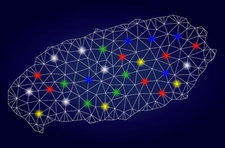 Bright mesh vector Jeju Island map with glowing lightspots. Lowpoly model for political posters. Abstract lines, dots, light spots are organized into Jeju Island map. Dark blue gradiented background.