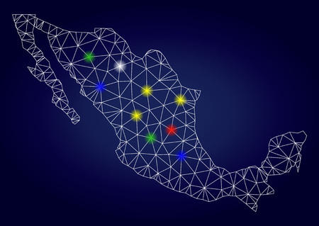 Bright mesh vector Mexico map with glare light spots. Carcass model for political purposes. Abstract lines, dots, light spots are organized into Mexico map. Dark blue gradiented background.