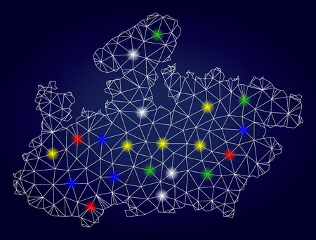 Bright polygonal vector Madhya Pradesh State map with glowing lightspots. Mesh model for political purposes. Abstract lines, dots, light spots are organized into Madhya Pradesh State map. Illustration