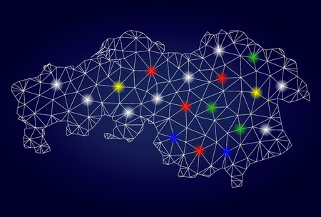 Bright mesh vector North Brabant Province map with glare lightspots. Mesh model for patriotic purposes. Abstract lines, dots, glare spots are organized into North Brabant Province map. Stock Illustratie