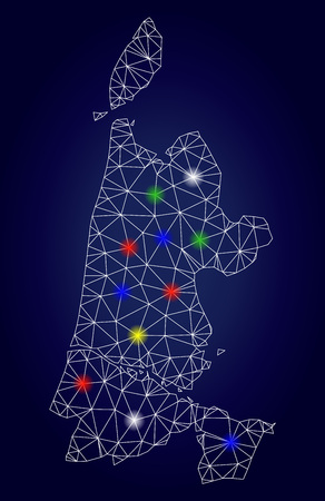 Glamour mesh vector North Holland map with glowing light spots. Mesh model for political posters. Abstract lines, dots, glare spots are organized into North Holland map.