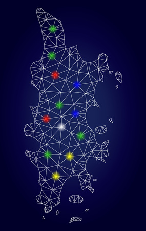 Glamour mesh vector Phuket map with glare light spots. Carcass model for patriotic posters. Abstract lines, dots, flash spots are organized into Phuket map. Dark blue gradiented background. Фото со стока - 121417044