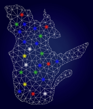 Glossy mesh vector Quebec Province map with glare light spots. Carcass model for political templates. Abstract lines, dots, light spots are organized into Quebec Province map.