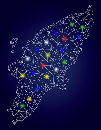 Glamour mesh vector Rhodes Island map with glowing light spots. Carcass model for political illustrations. Abstract lines, dots, light spots are organized into Rhodes Island map.