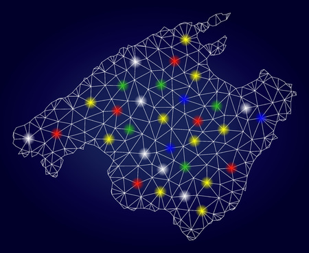 Glossy polygonal vector Spain Mallorca Island map with glare light spots. Mesh model for patriotic illustrations. Abstract lines, dots, light spots are organized into Spain Mallorca Island map.  イラスト・ベクター素材
