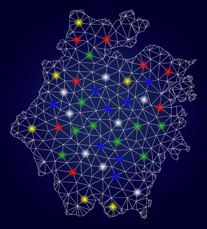 Bright mesh vector Zhejiang Province map with glowing lightspots. Mesh model for patriotic illustrations. Abstract lines, dots, light spots are organized into Zhejiang Province map. Illustration