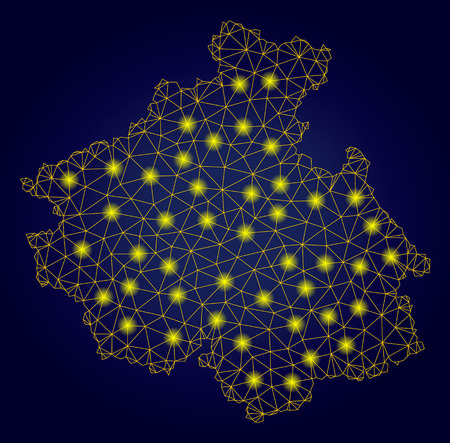 Yellow mesh vector Altai Republic map with glare effect on a dark blue gradiented background. Abstract lines, light spots and small circles form Altai Republic map constellation. 矢量图像