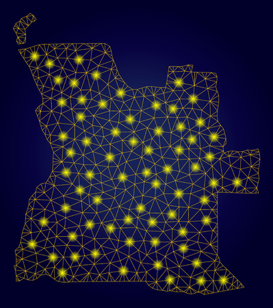 Yellow mesh vector Angola map with glare effect on a dark blue gradiented background. Abstract lines, light spots and dots form Angola map constellation. Stock Illustratie