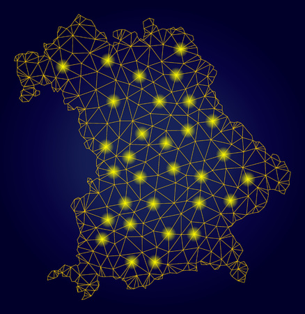 Yellow mesh vector Bavaria Land map with flare effect on a dark blue gradiented background. Abstract lines, light spots and circle dots form Bavaria Land map constellation. Stock Illustratie