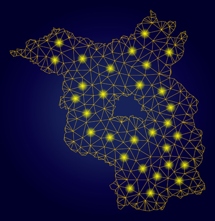 Yellow mesh vector Brandenburg Land map with flare effect on a dark blue gradiented background. Abstract lines, light spots and circle dots form Brandenburg Land map constellation. Ilustrace