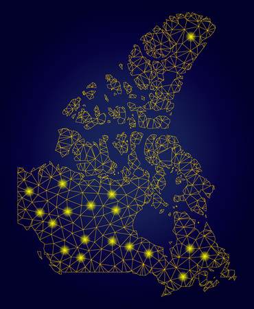 Yellow mesh vector Canada v2 map with flare effect on a dark blue gradiented background. Abstract lines, light spots and circle dots form Canada v2 map constellation.