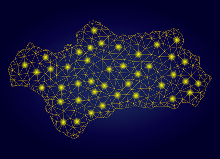 Yellow mesh vector Andalusia Province map with glitter effect on a dark blue gradiented background. Abstract lines, light spots and circle dots form Andalusia Province map constellation. 矢量图像