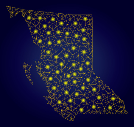 Yellow mesh vector British Columbia Province map with glare effect on a dark blue gradiented background. Abstract lines,