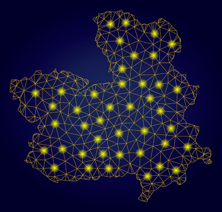 Yellow mesh vector Castile-La Mancha Province map with glare effect on a dark blue gradiented background. Abstract lines, light spots and points form Castile-La Mancha Province map constellation. Ilustração