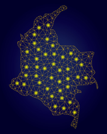 Yellow mesh vector Colombia map with glare effect on a dark blue gradiented background. Abstract lines, light spots and dots form Colombia map constellation.