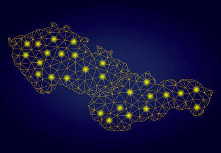 Yellow mesh vector Czechoslovakia map with glare effect on a dark blue gradiented background. Abstract lines, light spots and small circles form Czechoslovakia map constellation.  イラスト・ベクター素材