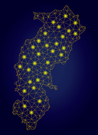 Yellow mesh vector Chhattisgarh State map with glare effect on a dark blue gradiented background. Abstract lines, light spots and dots form Chhattisgarh State map constellation.