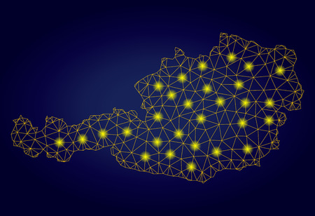 Yellow mesh vector Austria map with glare effect on a dark blue gradiented background. Abstract lines, light spots and spheric points form Austria map constellation.