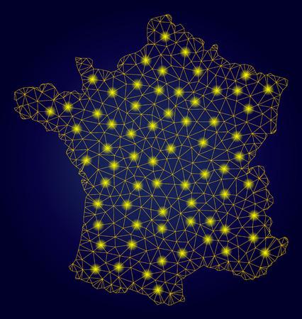 Żółta siatka wektorowa Mapa Francji z efektem blasku na ciemnoniebieskim tle gradientowym. Abstrakcyjne linie, punkty świetlne i kuliste punkty tworzą konstelację mapy Francji. Ilustracje wektorowe