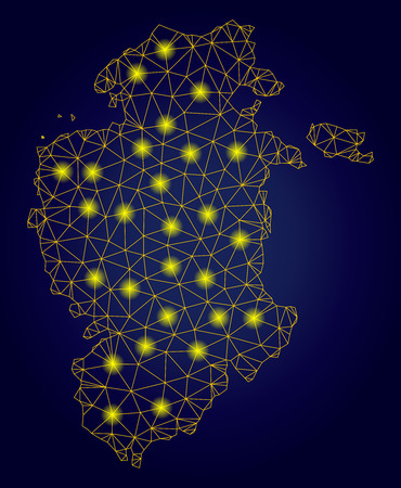 Yellow mesh vector Burgos Province map with glitter effect on a dark blue gradiented background. Abstract lines, light spots and circle dots form Burgos Province map constellation.