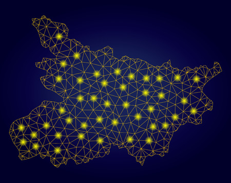 Yellow mesh vector Bihar State map with glow effect on a dark blue gradiented background. Abstract lines, light spots and small circles form Bihar State map constellation. Ilustração