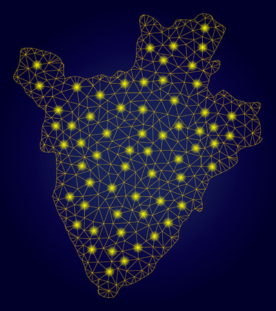 Yellow mesh vector Burundi map with glare effect on a dark blue gradiented background. Abstract lines, light spots and points form Burundi map constellation.