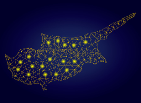 Yellow mesh vector Cyprus countries map with glitter effect on a dark blue gradiented background. Abstract lines, light spots and dots form Cyprus countries map constellation. Foto de archivo - 122777108