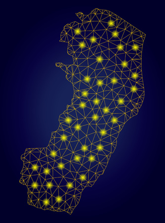 Yellow mesh vector Espirito Santo State map with glare effect on a dark blue gradiented background. Abstract lines, light spots and spheric points form Espirito Santo State map constellation. Ilustração