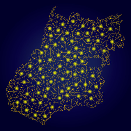 Yellow mesh vector Goias State map with glare effect on a dark blue gradiented background. Abstract lines, light spots and dots form Goias State map constellation.