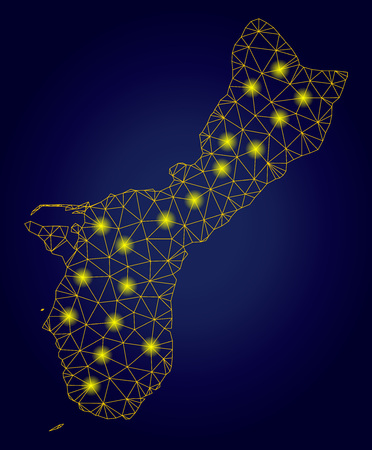 Yellow mesh vector Guam Island map with glare effect on a dark blue gradiented background. Abstract lines, light spots and circle dots form Guam Island map constellation.