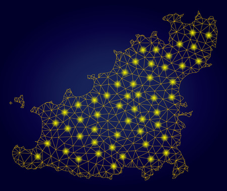 Yellow mesh vector Guernsey Island map with glow effect on a dark blue gradiented background. Abstract lines, light spots and points form Guernsey Island map constellation.