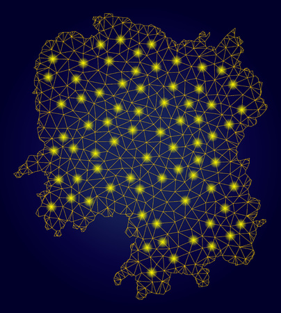 Yellow mesh vector Hunan Province map with glitter effect on a dark blue gradiented background. Abstract lines, light spots and dots form Hunan Province map constellation. Stock Illustratie