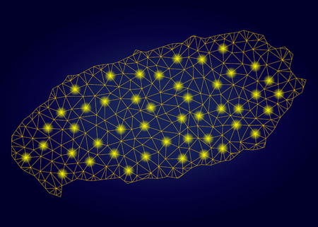 Yellow mesh vector Jeju Island map with flare effect on a dark blue gradiented background. Abstract lines, light spots and circle dots form Jeju Island map constellation. Vectores