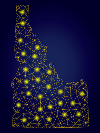 Yellow mesh vector Idaho State map with glare effect on a dark blue gradiented background. Abstract lines, light spots and circle dots form Idaho State map constellation.