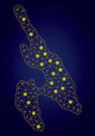 Yellow mesh vector Koh Phi Don map with glare effect on a dark blue gradiented background. Abstract lines, light spots and dots form Koh Phi Don map constellation. Çizim