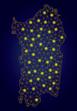 Yellow mesh vector Italian Sardinia Island map with glare effect on a dark blue gradiented background. Abstract lines, light spots and small circles form Italian Sardinia Island map constellation. Stock Illustratie
