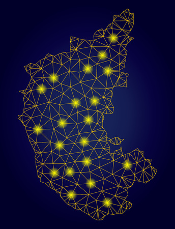 Yellow mesh vector Karnataka State map with glare effect on a dark blue gradiented background. Abstract lines, light spots and spheric points form Karnataka State map constellation. Illustration