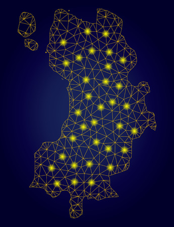 Yellow mesh vector Koh Tao Thai Island map with glare effect on a dark blue gradiented background. Abstract lines, light spots and spheric points form Koh Tao Thai Island map constellation. Stock Illustratie